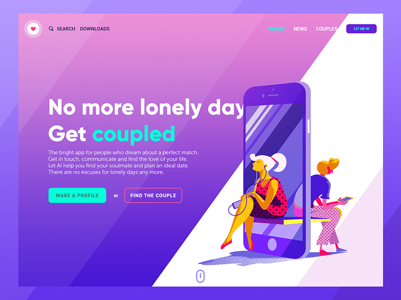 dating app landing page design