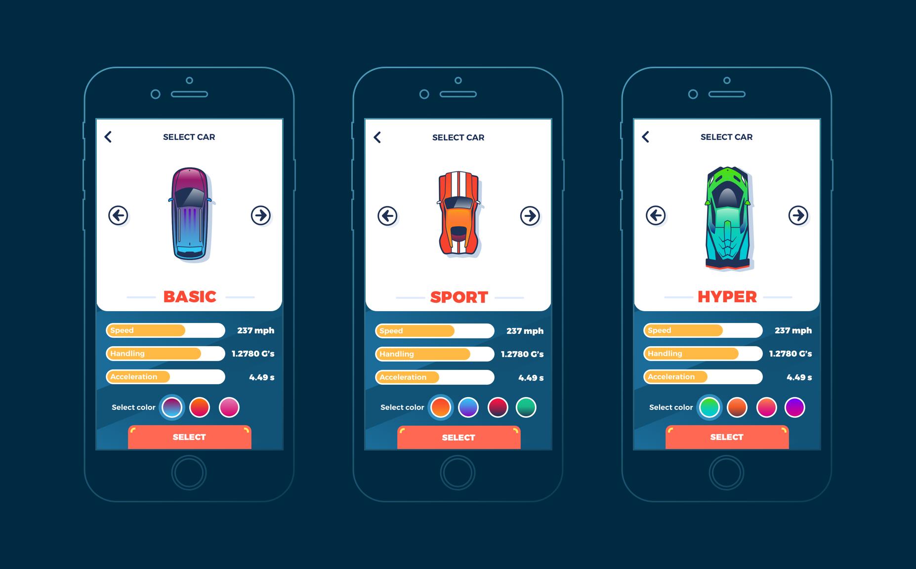 mobile ui design racing game