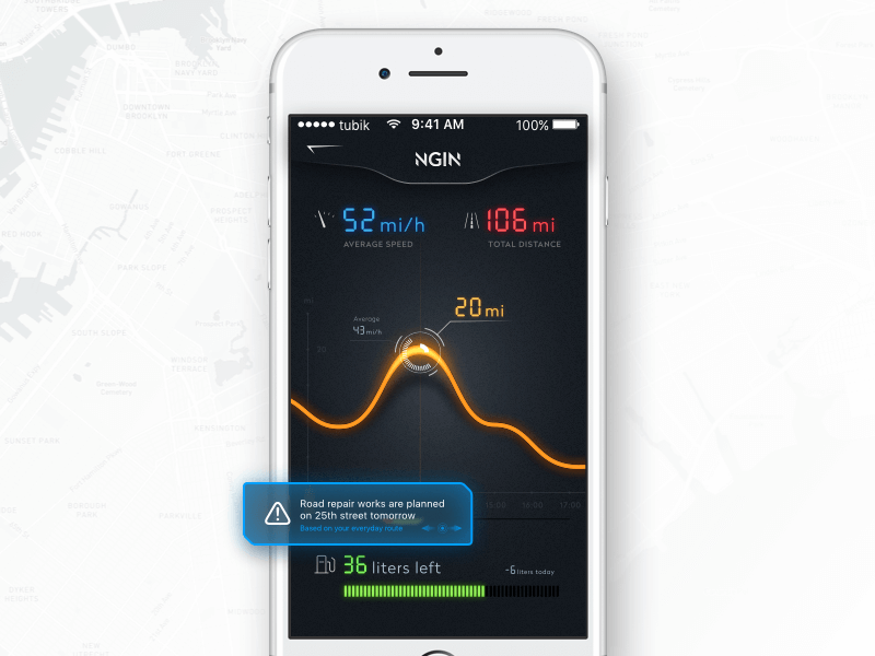 car statistic mobile app tubik design