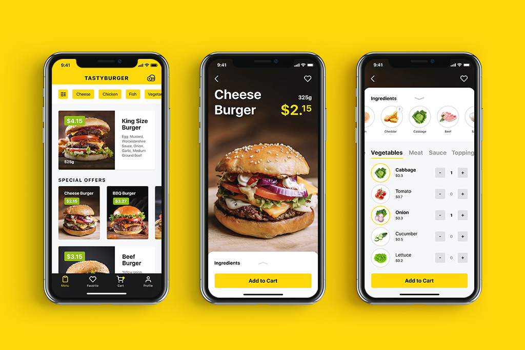 tasty burger app design UI tubik
