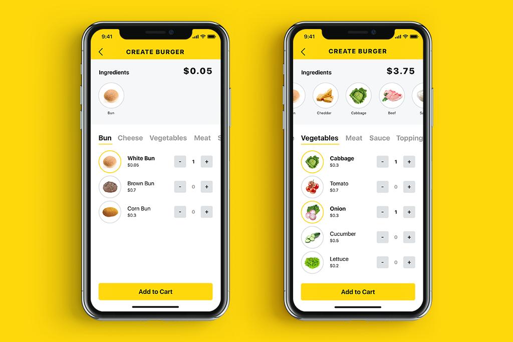 tasty burger menu Ui design