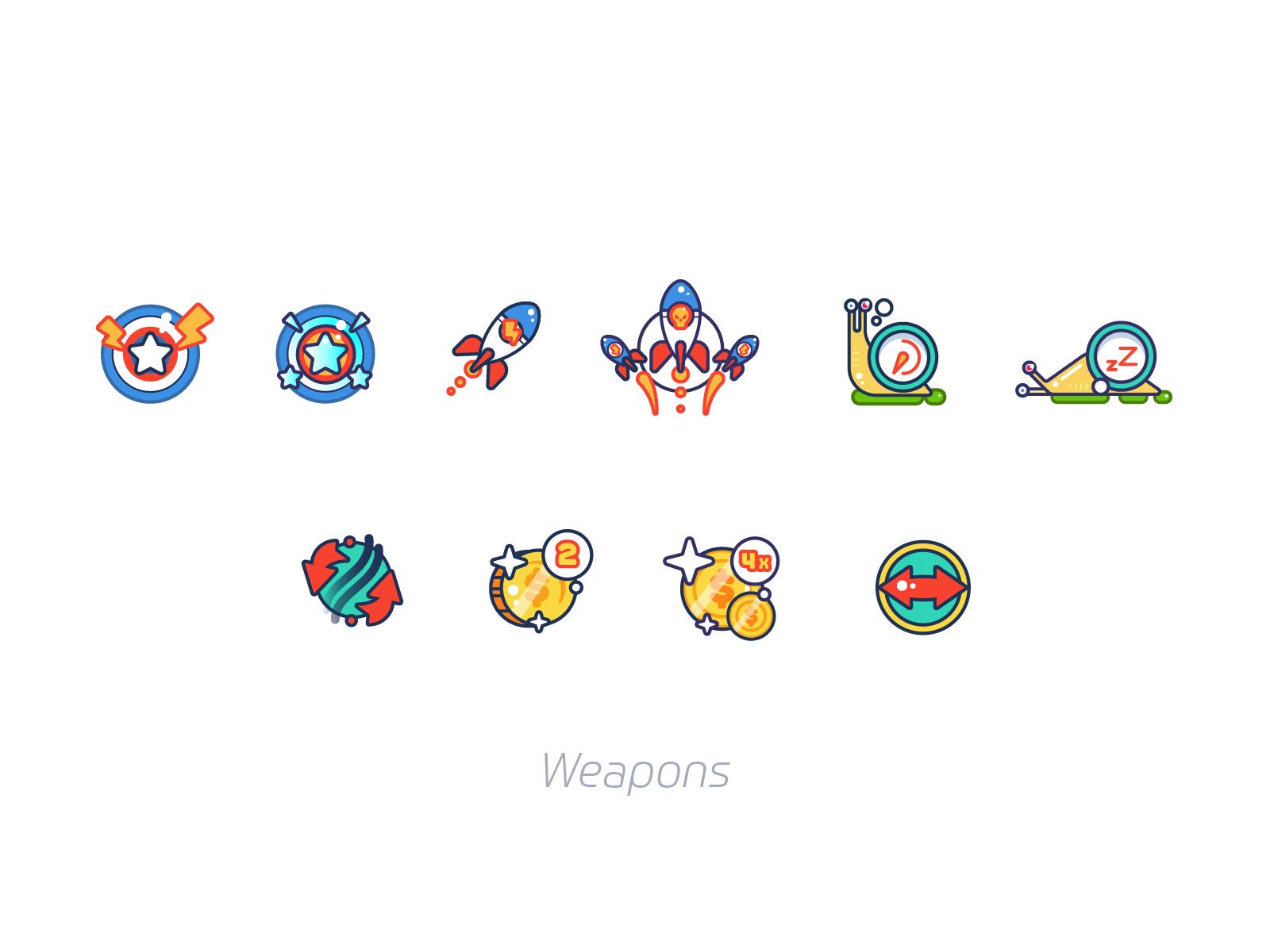 weapons game design illustration