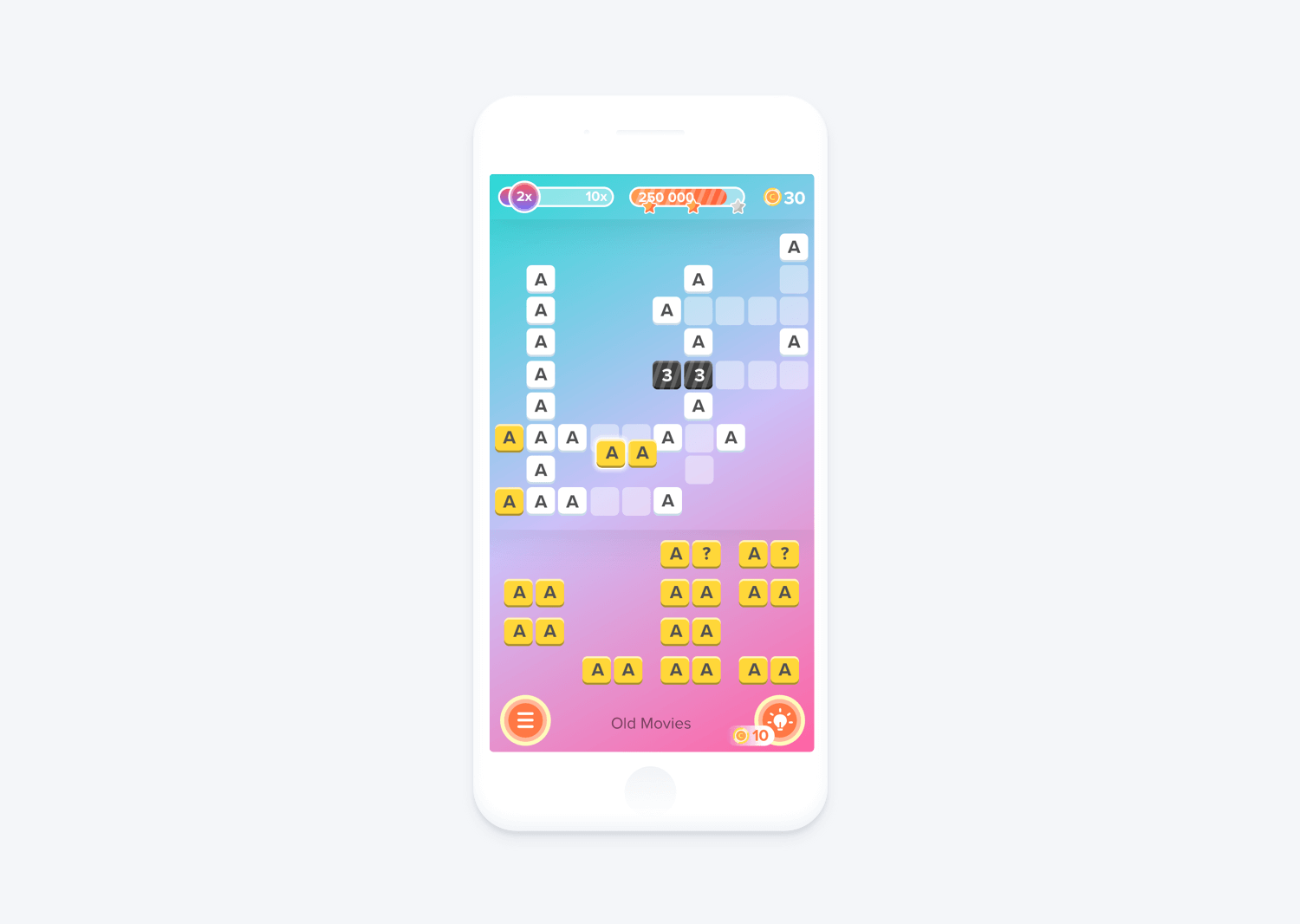 home screen crossword mobile game