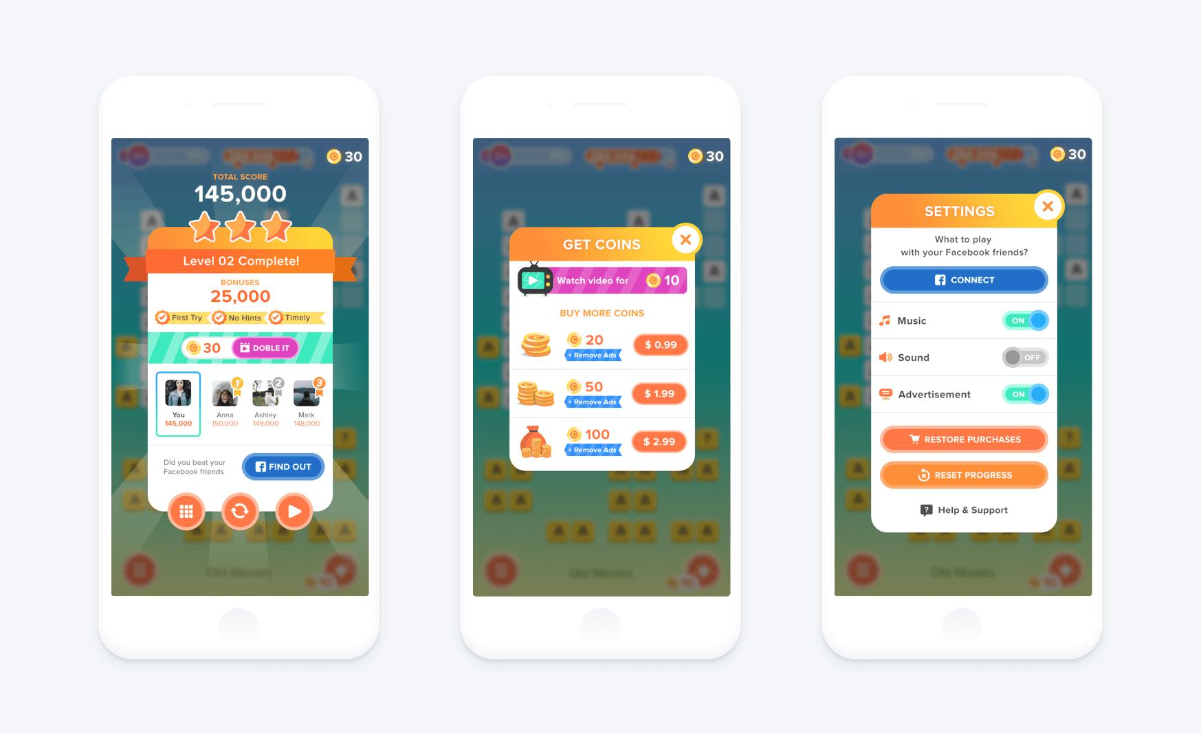 popups design mobile ui game