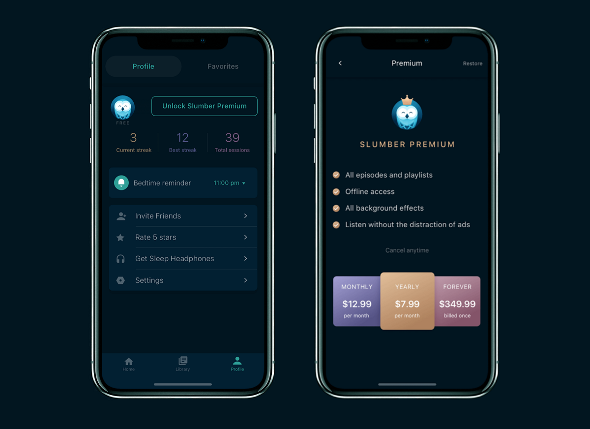 slumber app profile design