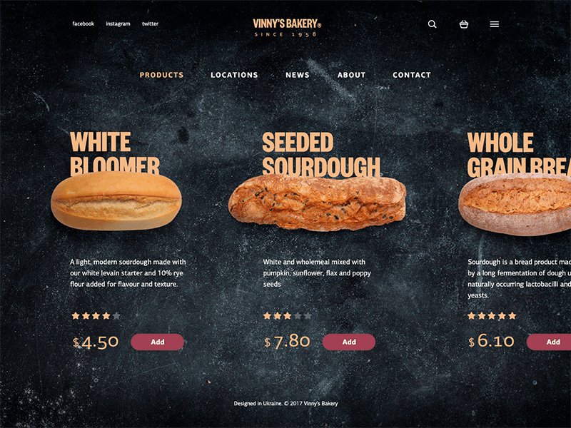 Bakery website catalog design-ui