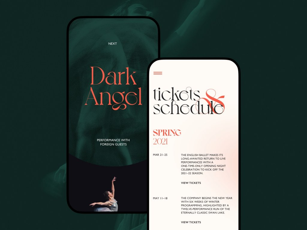ballet company mobile website tubikstudio design