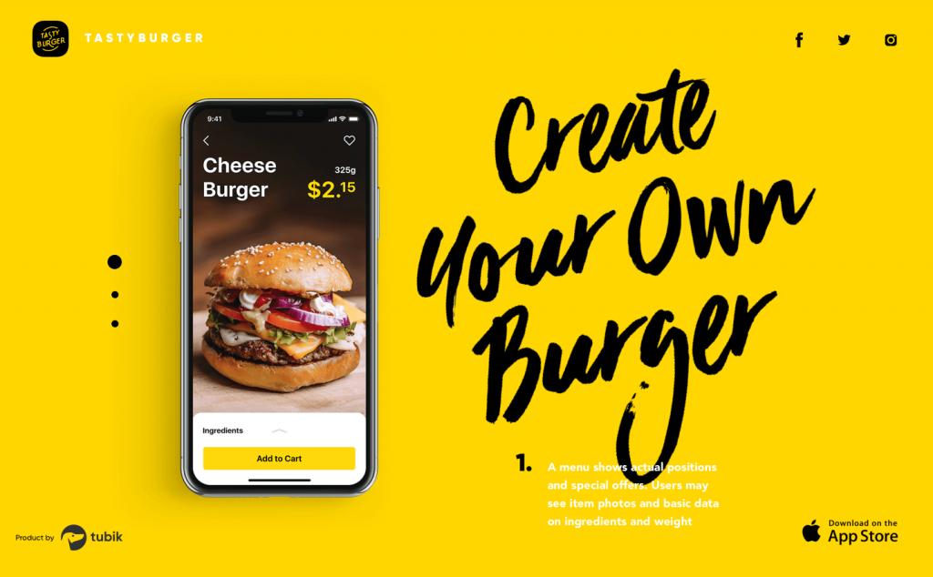 burger app landing page design