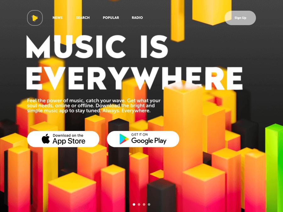 music app landing page design_tubik
