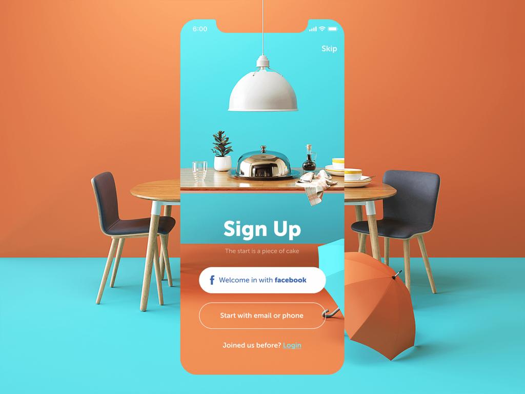 restaurant app sign up screen_design
