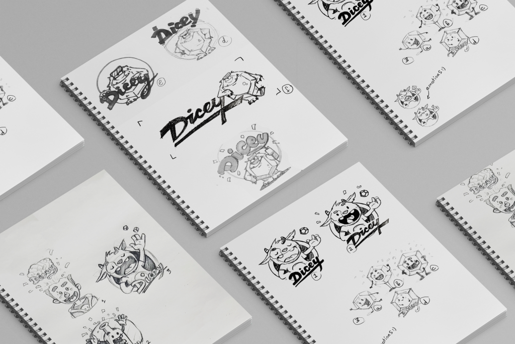 dicey design case study mascot sketching