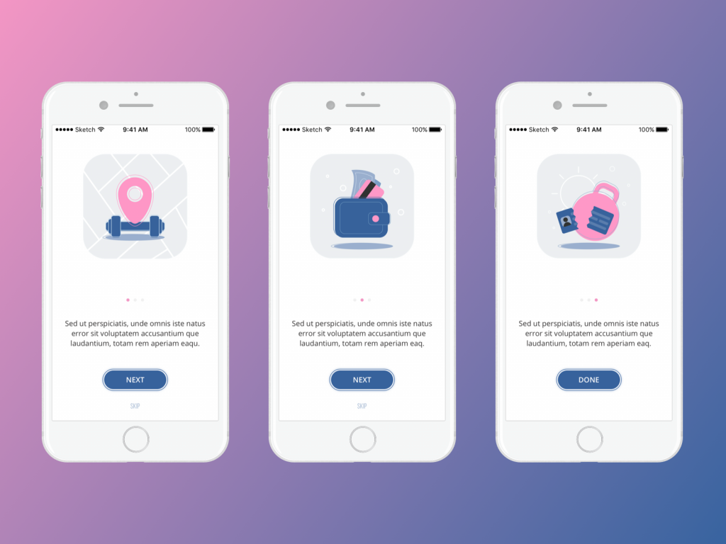 Onboarding fitness app UI-tubik