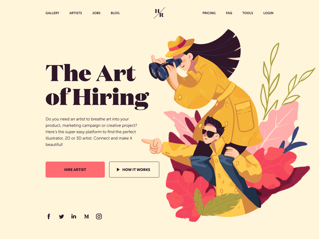 hiring artist website design illustration