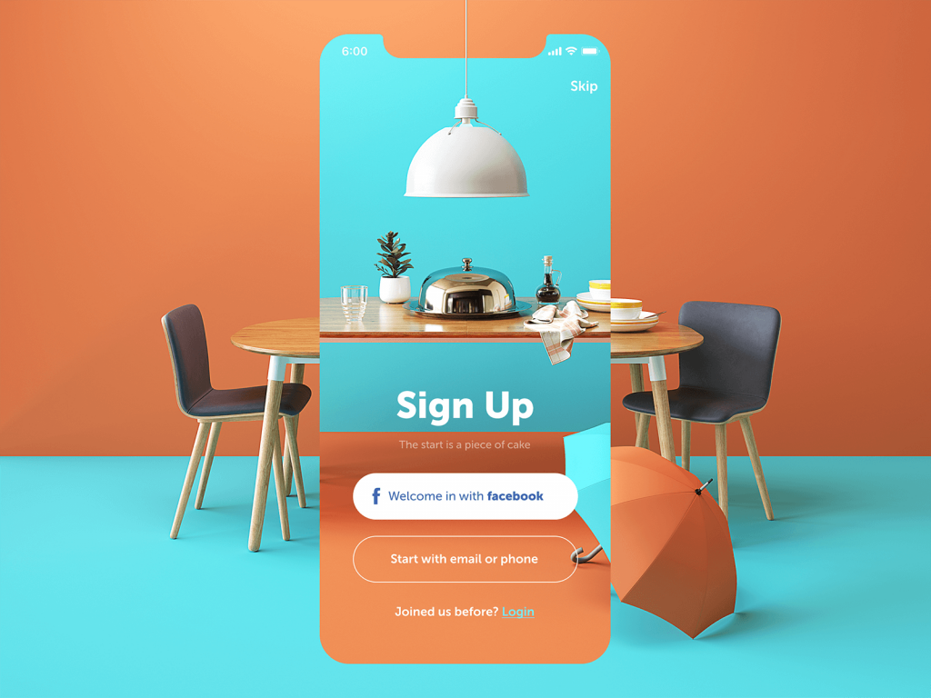 restaurant app sign up screen design