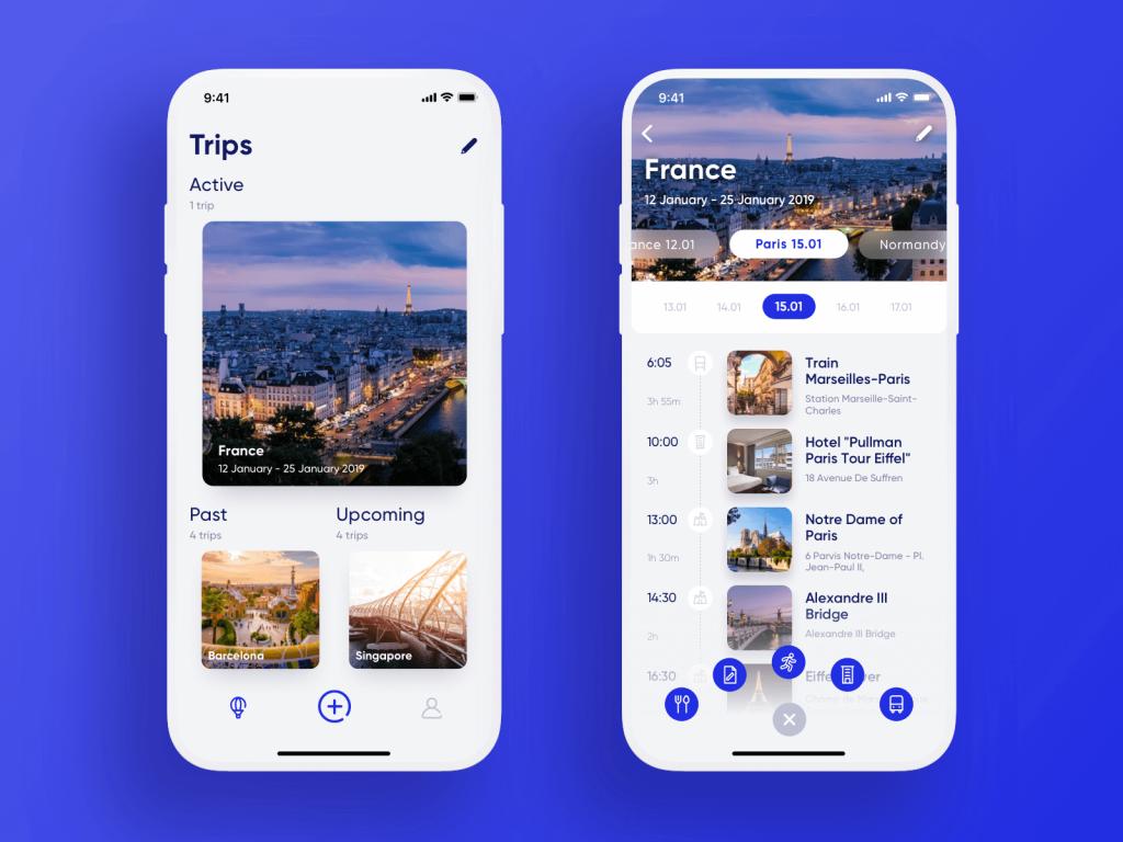 travel planner app UI tubik