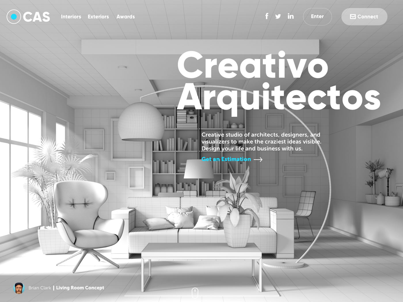 creativo arquitectos website ui design 3d tubik