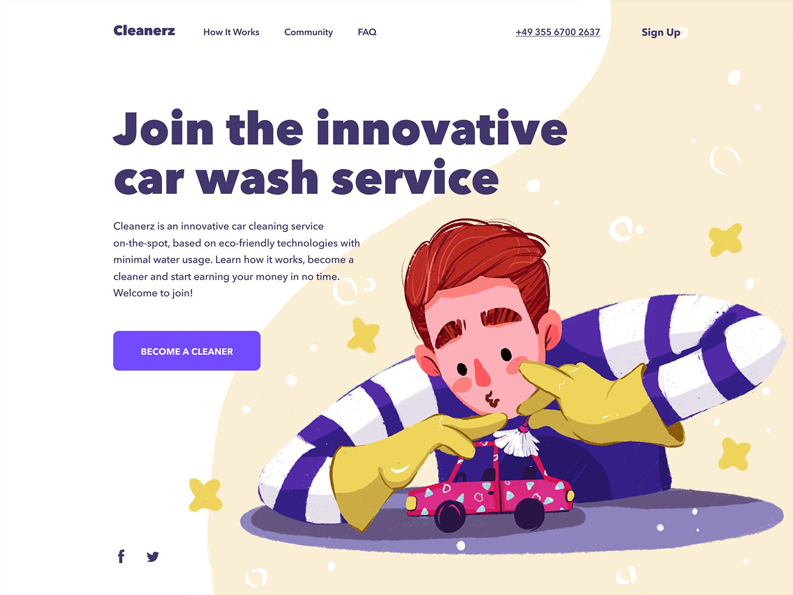 car wash service website tubik