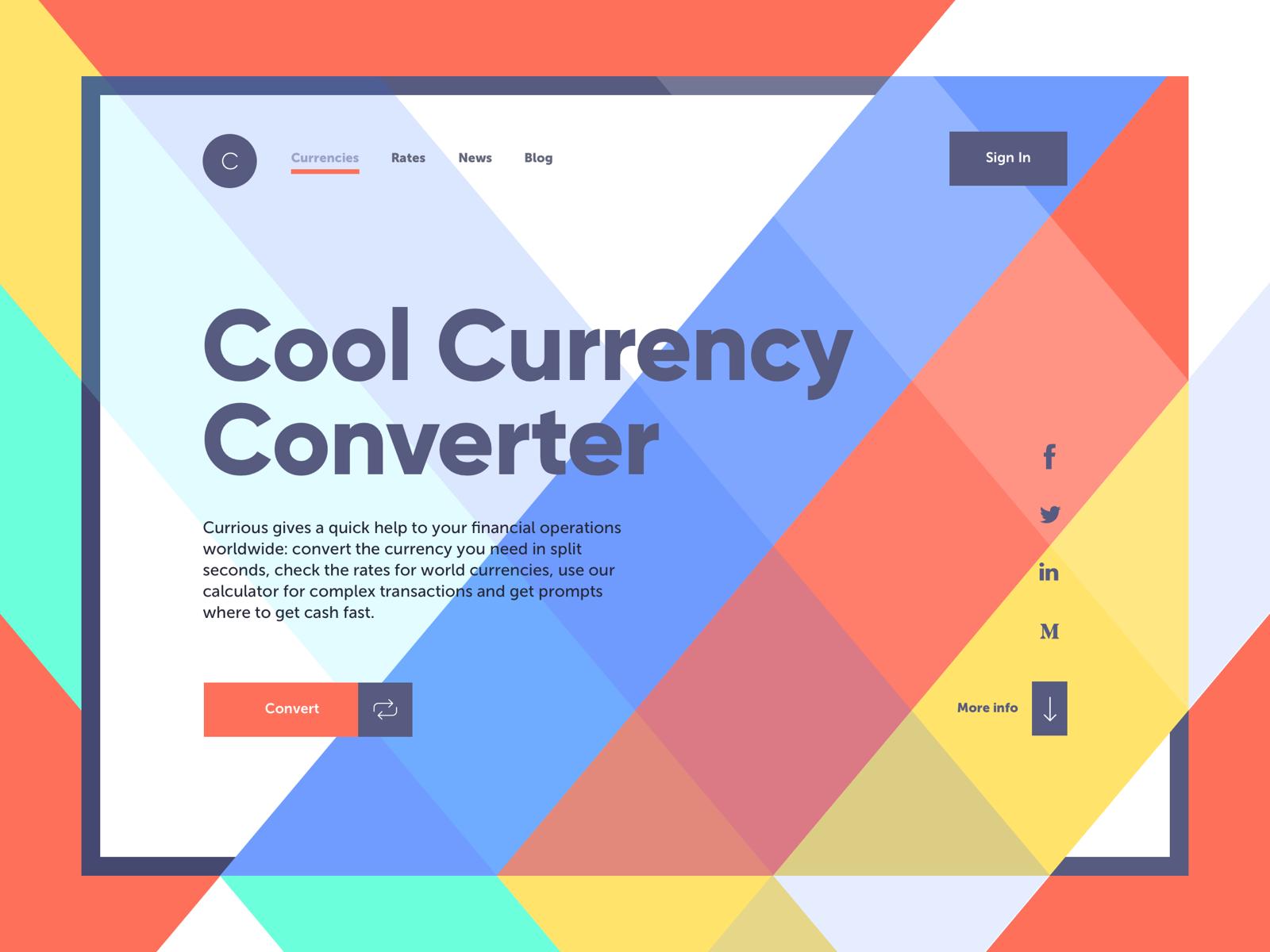 currency converter landing page tubik