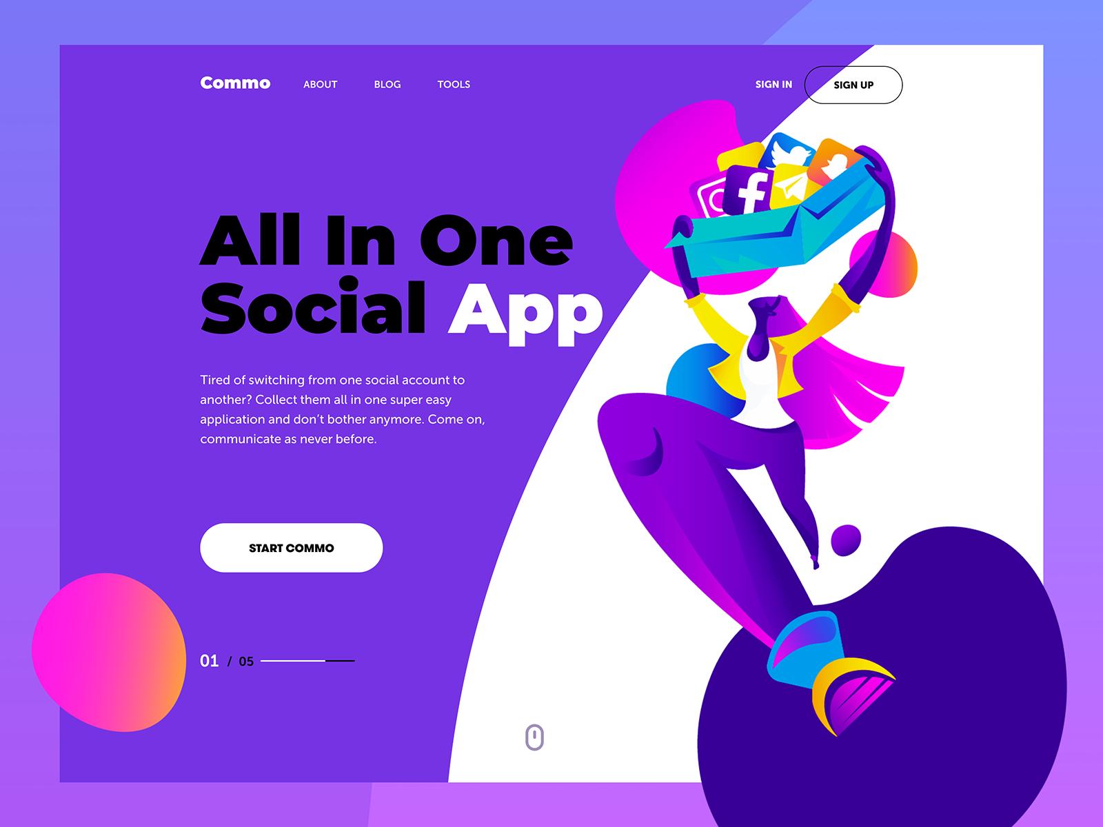 social app landing page tubik