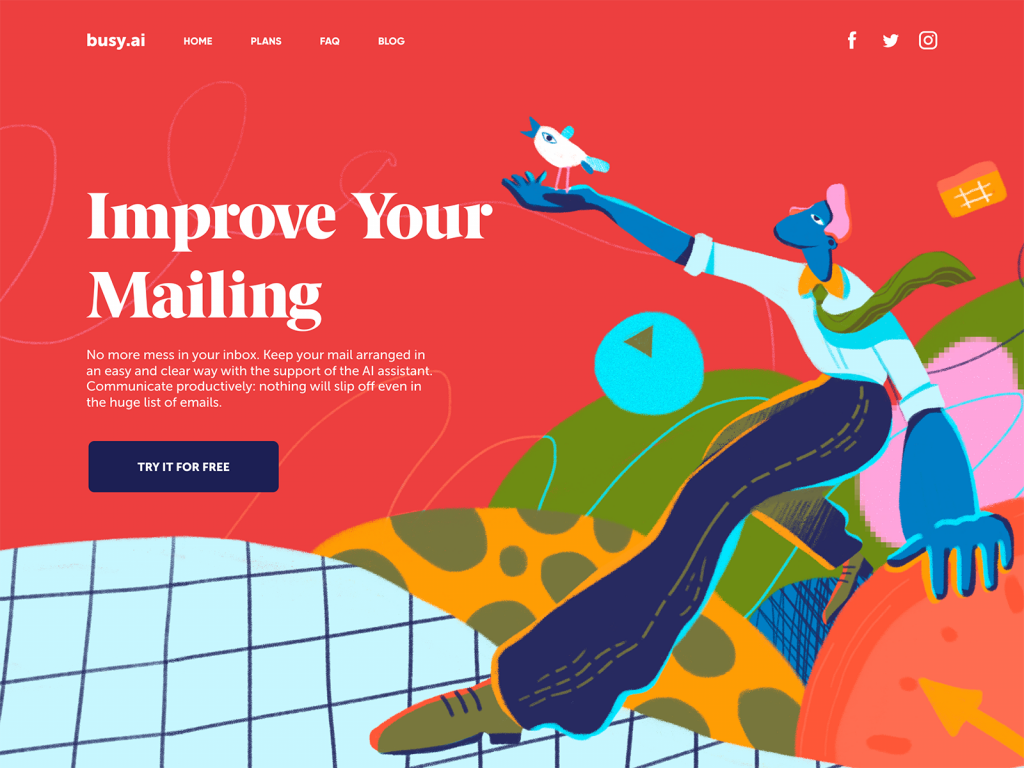 mail management landing page tubik