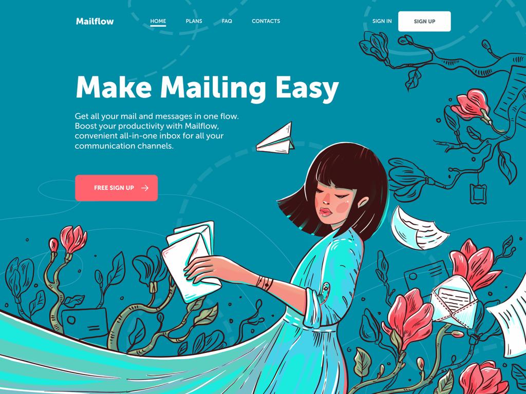 mail service landing page tubik