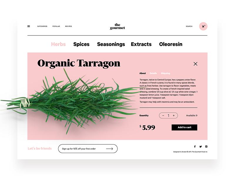gourmet web design UI