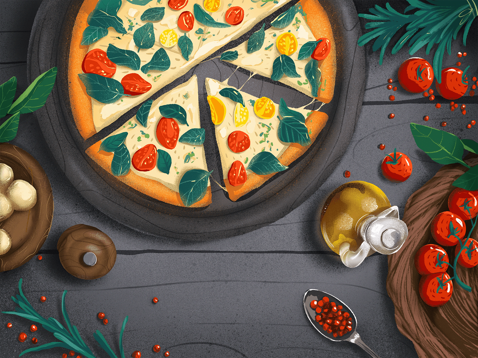 Italian food illustration tubikarts