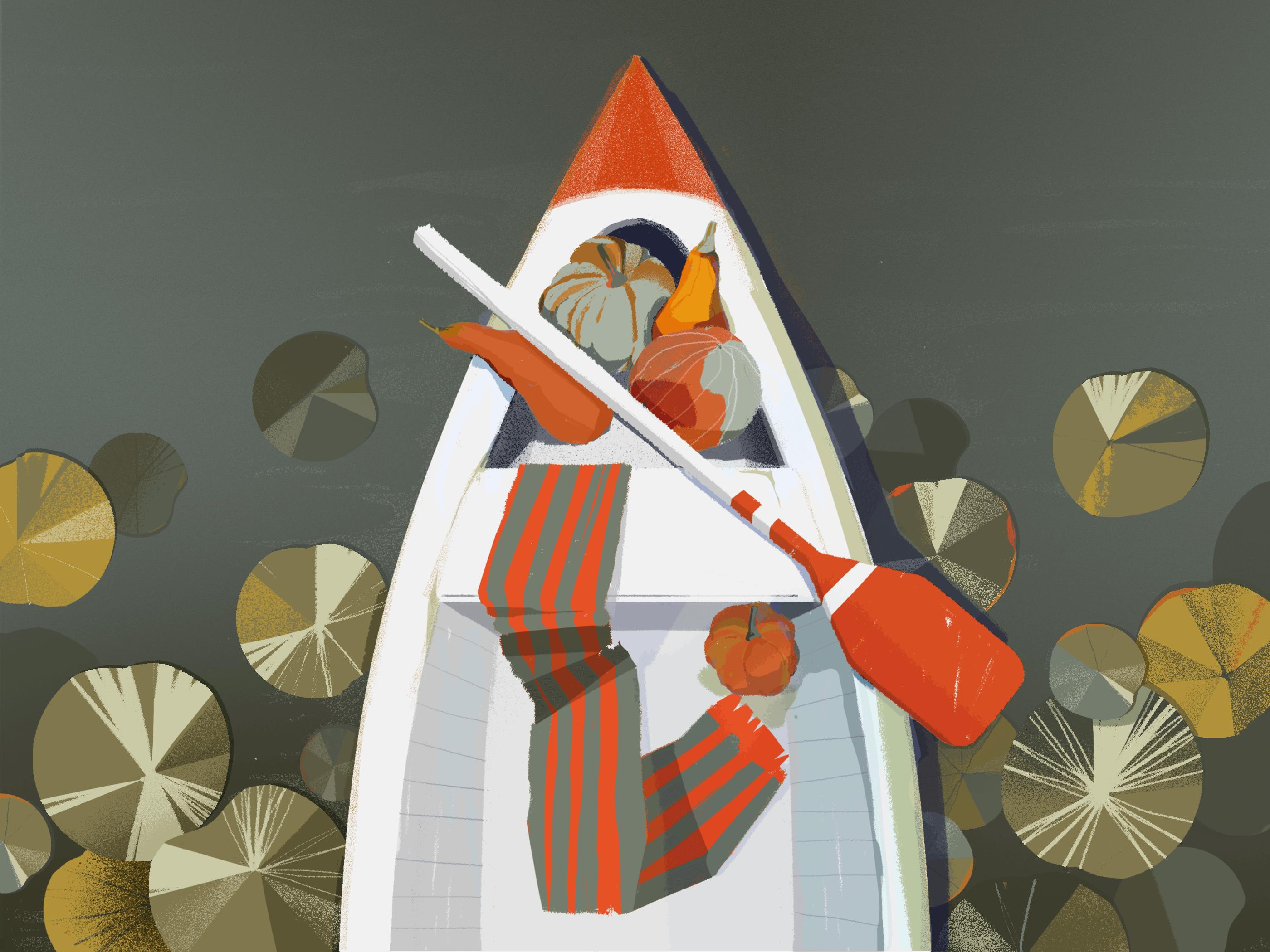 autumn boat illustration