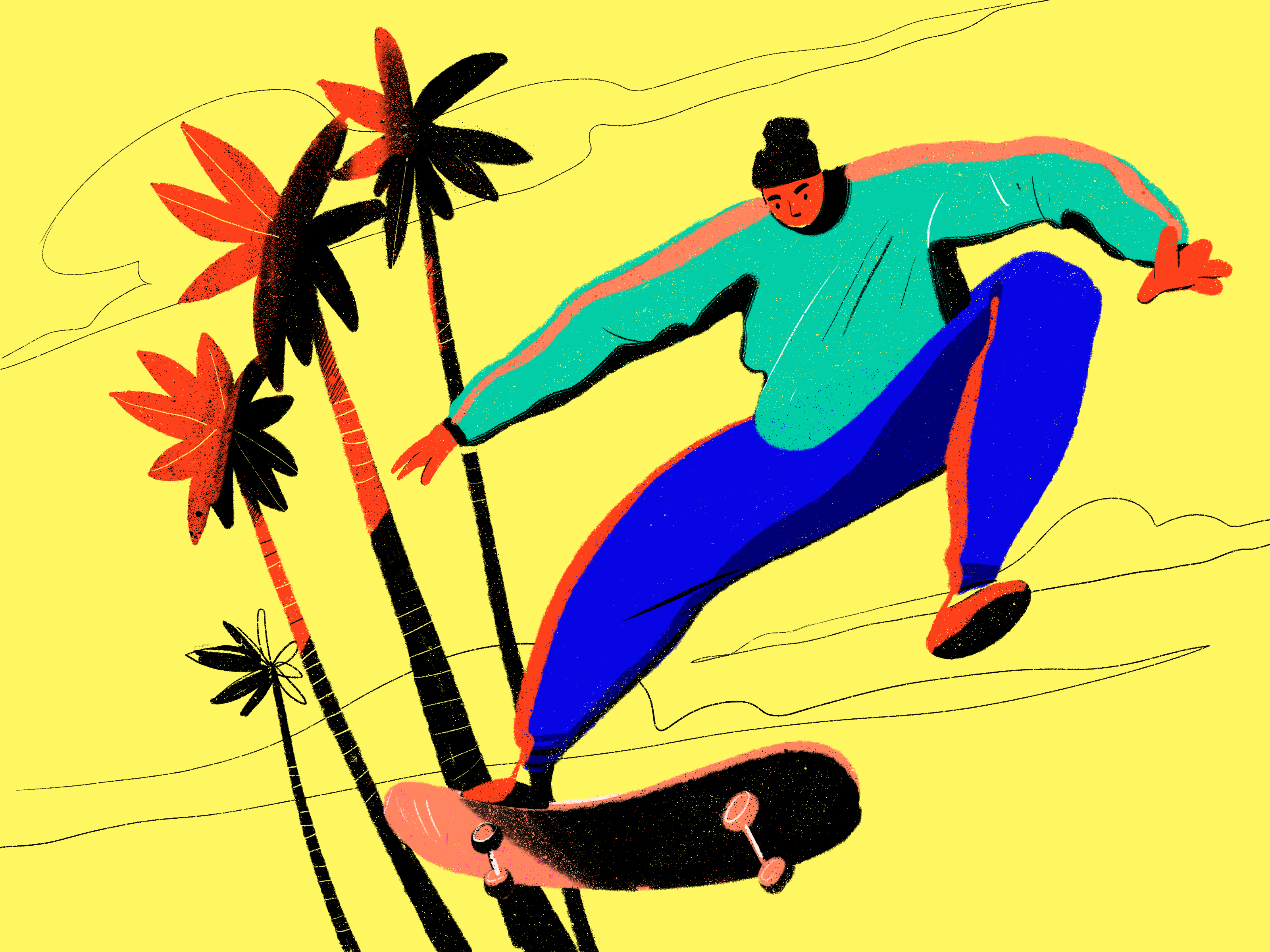 bright skateboarder illustration