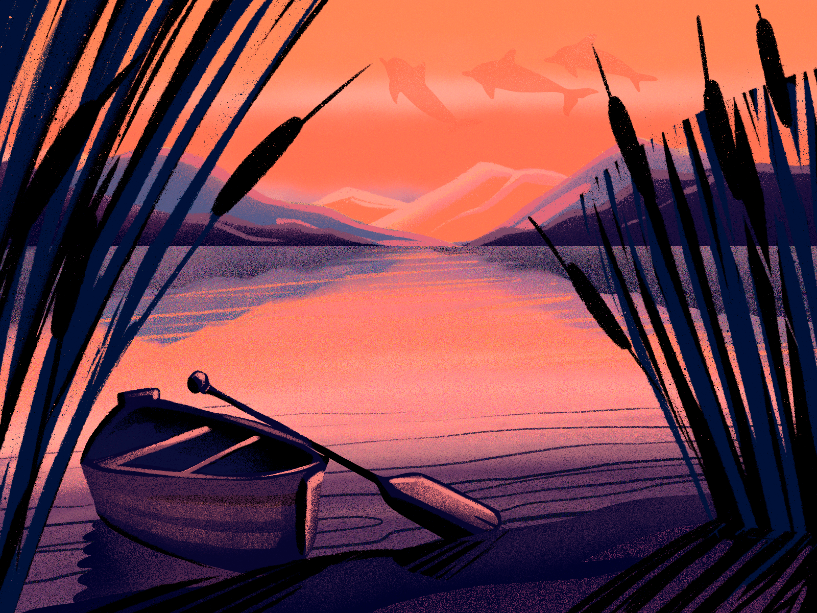 river sunset illustration