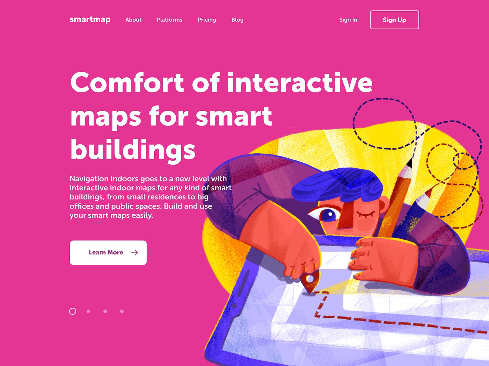smartmap landing page design tubik