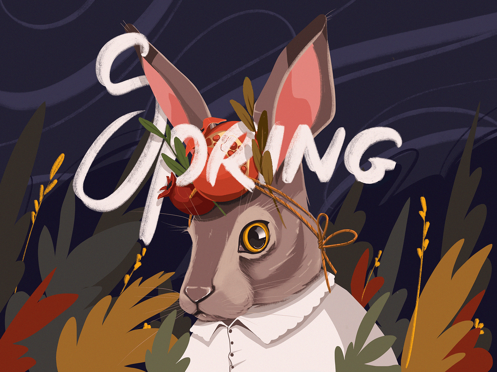 spring rabbit creative illustration