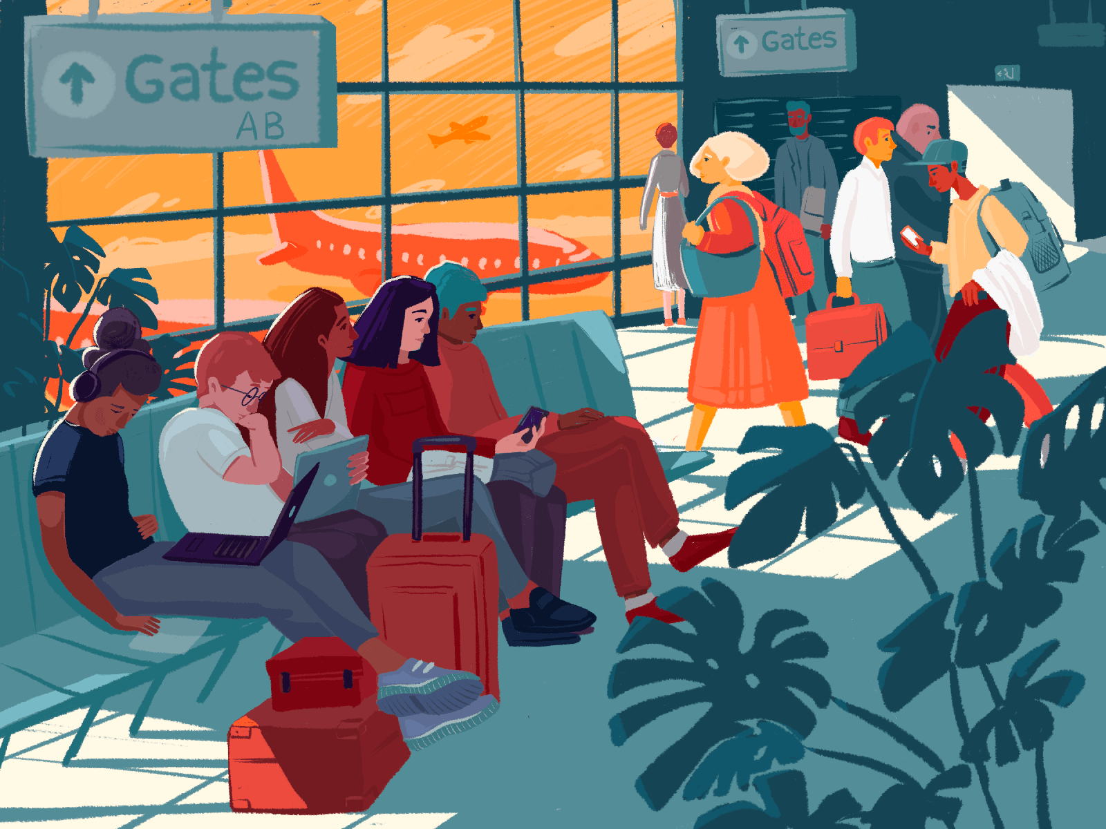 waiting for the flight illustration