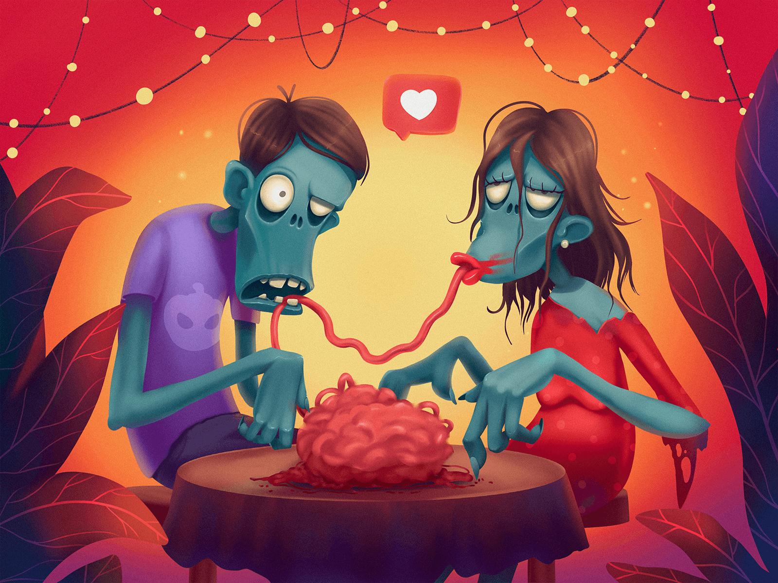 zombie date illustration halloween