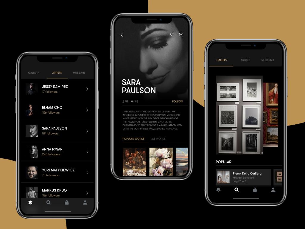 tubik gallery app ui