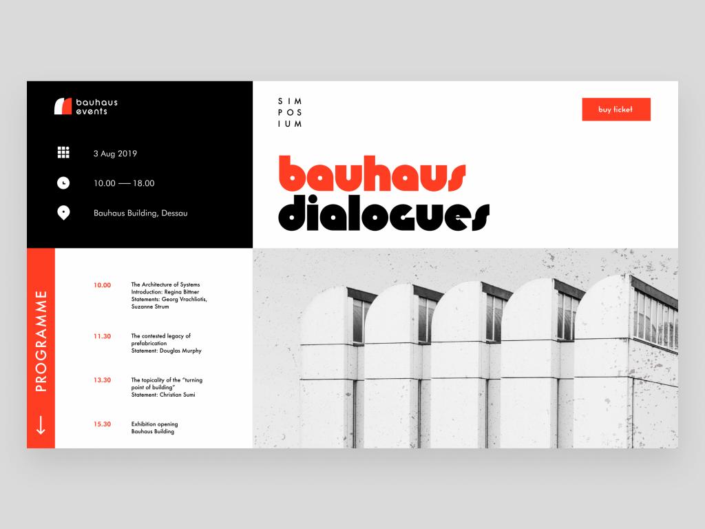 bauhaus event landing page design tubik