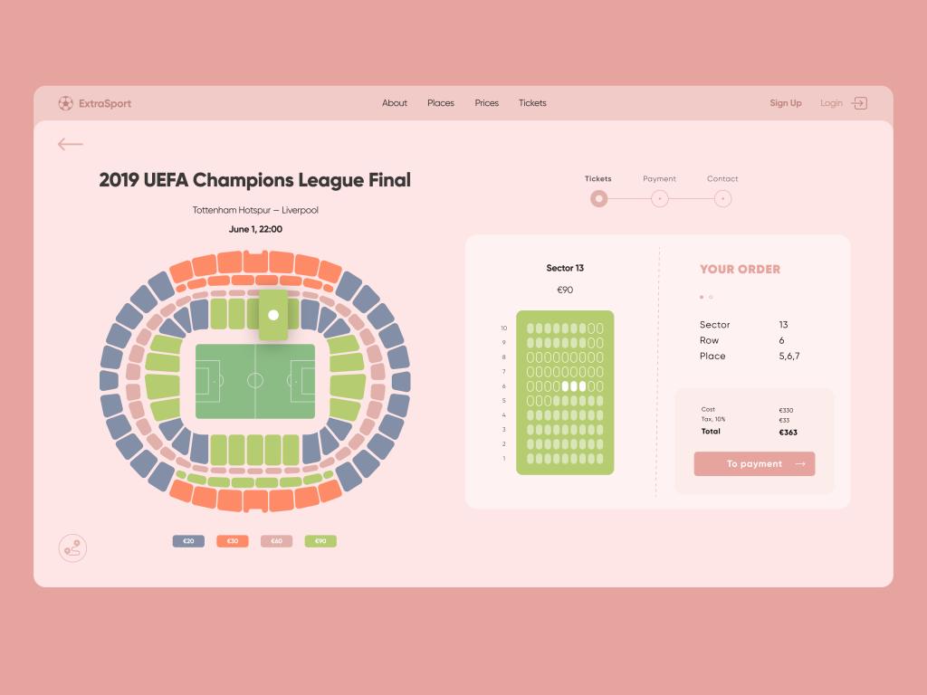 football cup tickets ui design tubik