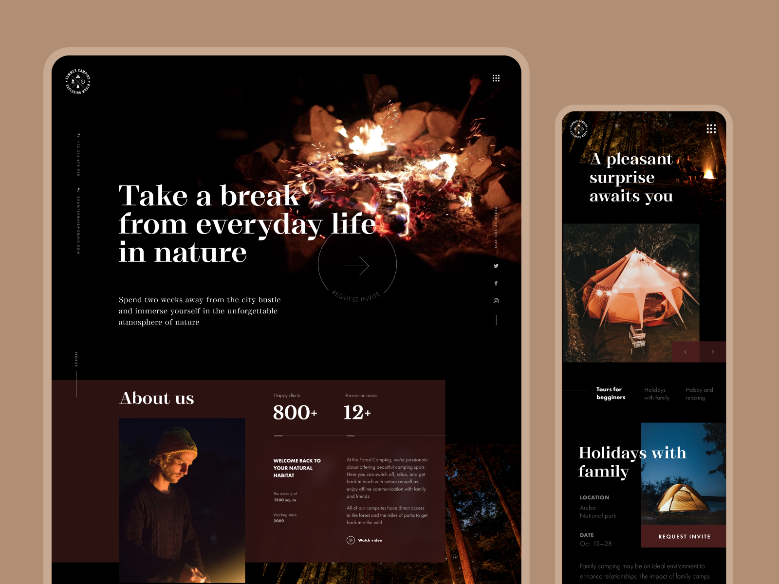 forest camping website design
