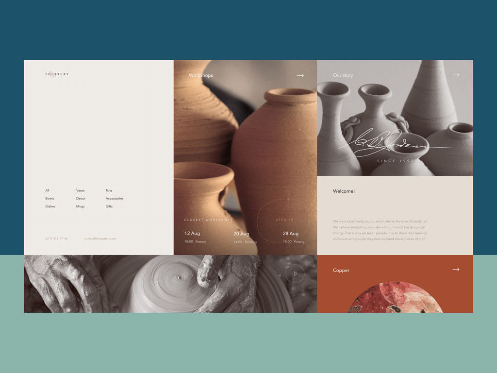 pottery website design