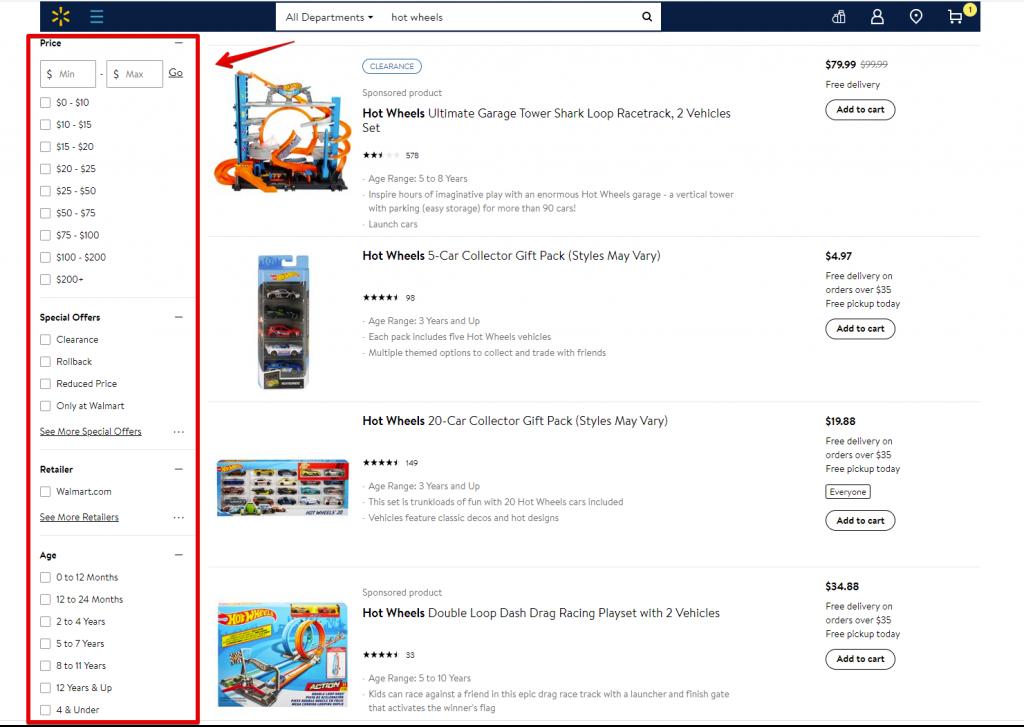 wallmart search design