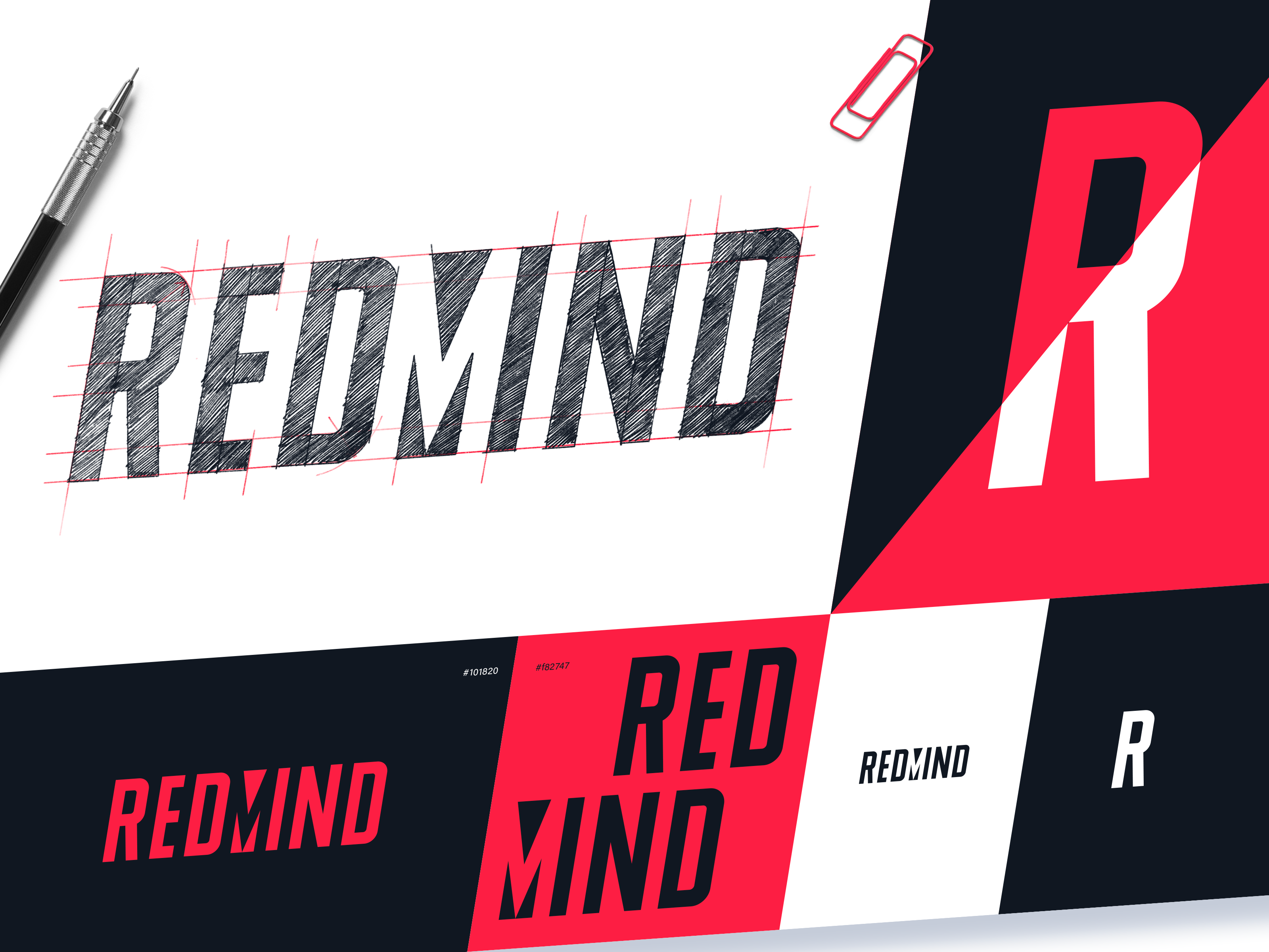 Redmind logo design process tubik