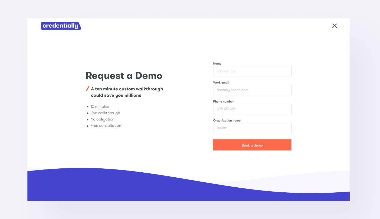 book demo screen credentially website design