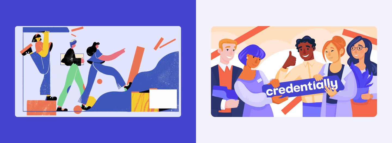 illustrations together credentially website design