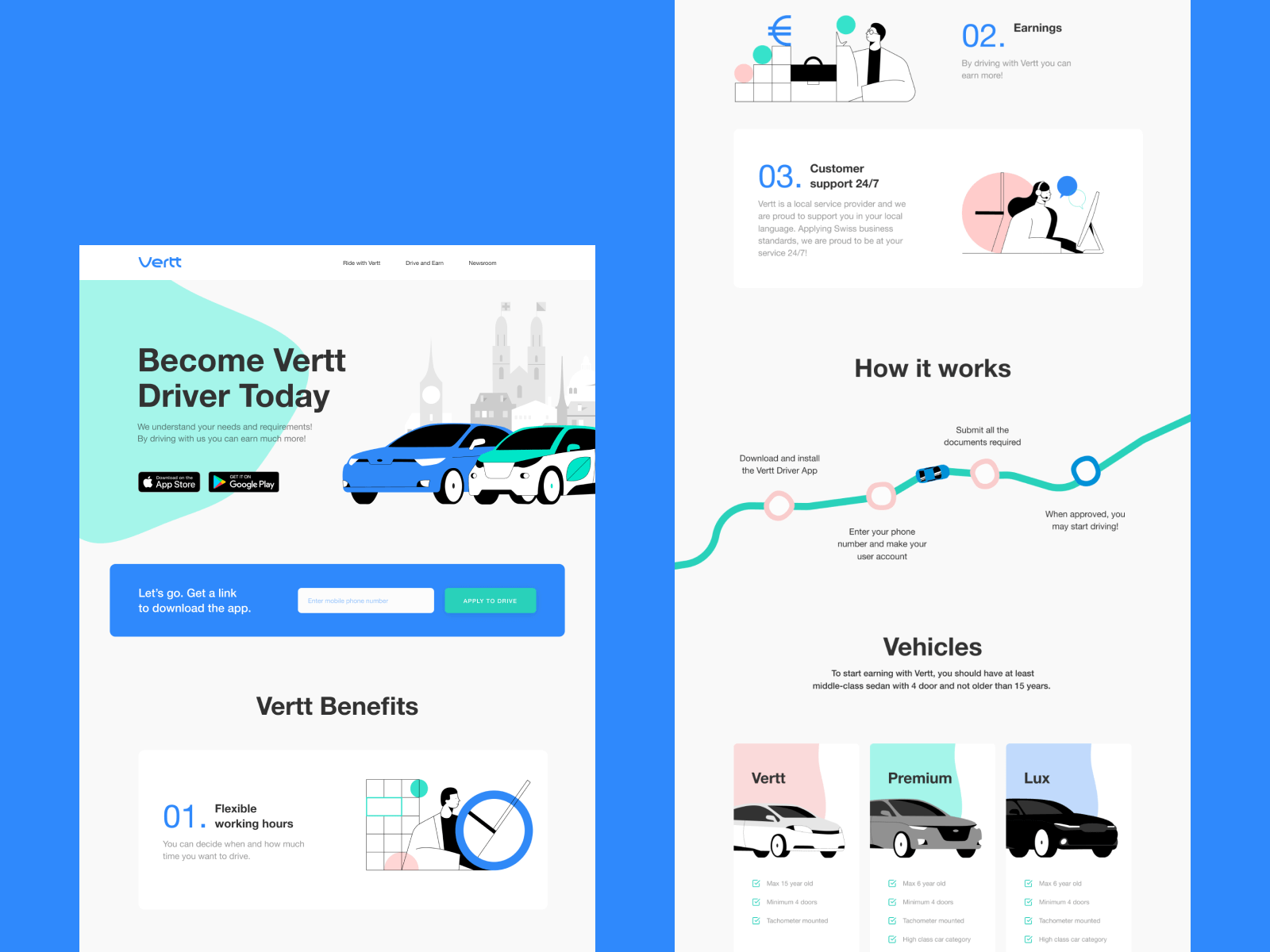 Vertt Landing Page design tubik studio