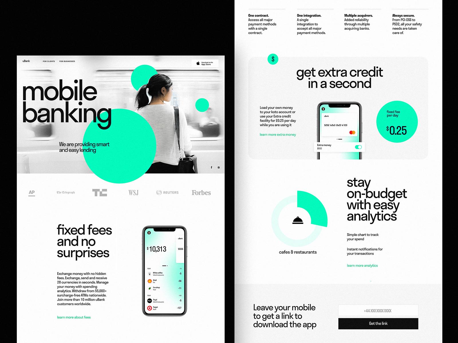 mobile banking landing page tubik design