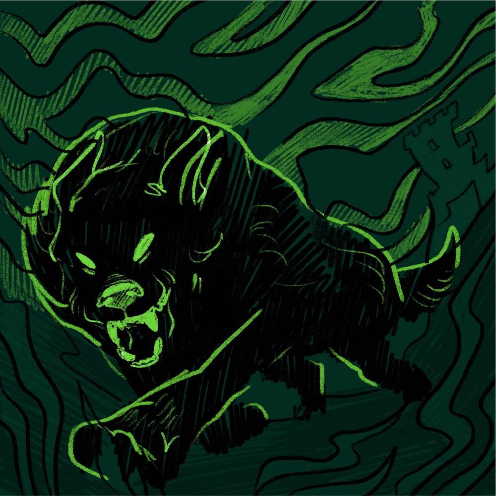 hound baskervilles sketch illustration