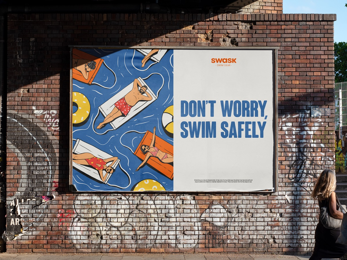 poster design swim safely illustration