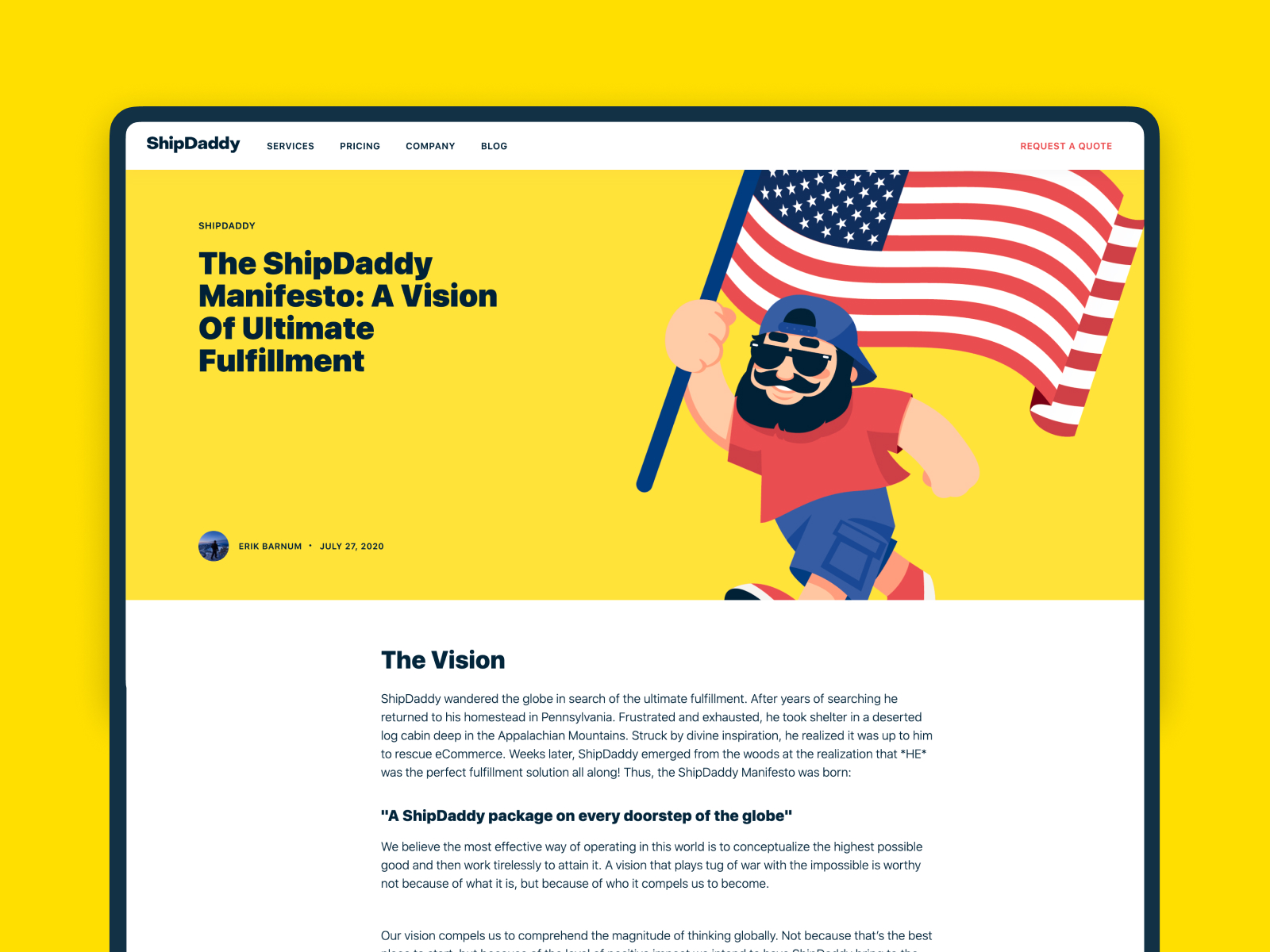 shipdaddy website Blog design