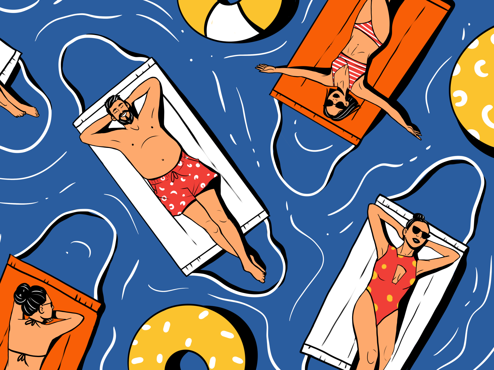 swim safely pandemic illustration