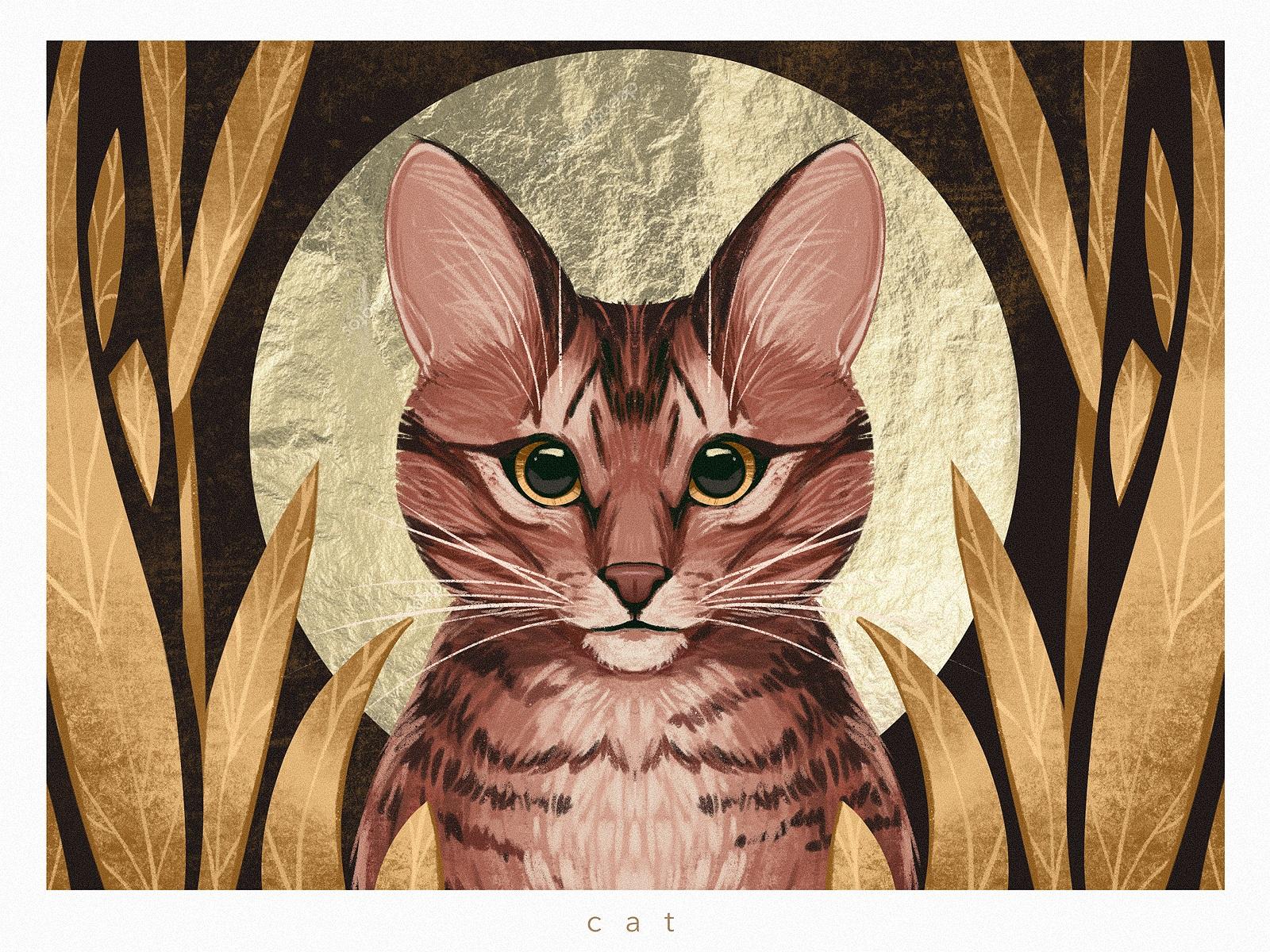 animal cat portrait illustration tubikarts